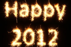 Fiery Happy New Year. Fiery happy 2012 image. Actual photograph of real fireworks Royalty Free Stock Photography