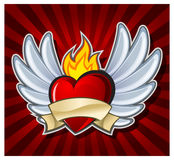 Fiery heart. With wings on dark background,  illustration Stock Image