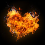Fiery heart. Ardent heart with smoke on black background Royalty Free Stock Photos