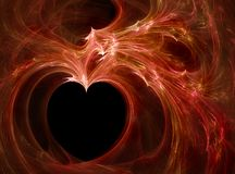 Fiery heart. Red fractal silhouette of heart in the black background Stock Image