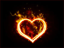 Fiery heart. Fire heart on black background Royalty Free Stock Images