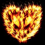 Fiery heart on a black background Stock Photography