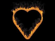 Fiery heart. 3d render. Digital illustration. Fiery heart on black background. 3d rendering. Graphic illustration Stock Photo