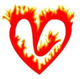 Fiery heart with a hole Royalty Free Stock Images