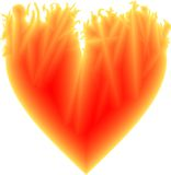 Fiery heart. The hot yellow-red Valentine heart Royalty Free Stock Image