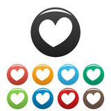 Fiery heart icons set color vector. Fiery heart icon. Simple illustration of fiery heart vector icons set color isolated on white Royalty Free Stock Photo
