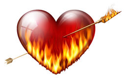 Fiery heart. Pierced by an arrow of fire Stock Images