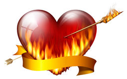 Fiery heart. Pierced by an arrow of fire, with sash Stock Image