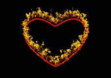 Fiery Heart. Symbolic 3D illustration of a fiery heart on the black background Royalty Free Stock Images