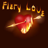 Fiery heart. Vector illustration of a heart on fire pierced Firebolt Stock Image