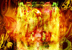 Fiery hellish background. With the elements of picture by a pencil Royalty Free Stock Image