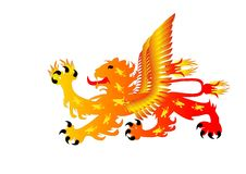 Fiery heraldic lion with wings Royalty Free Stock Photography