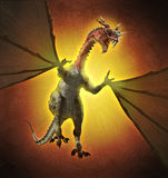 Fiery Horned Dragon. A fiery hot horned dragon in flight - 3d render with digital painting Royalty Free Stock Photos