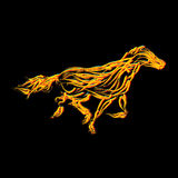 Fiery horse. Illustration, isolated and grouped objects on black Stock Photography