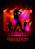 Fiery hot party design with girls. Fiery hot party design with fashion girls silhouettes Stock Photo