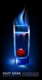 Fiery Hot Shot Cocktail Glass Concept. With cherry in realistic style on dark background  vector illustration Royalty Free Stock Images