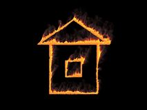 Fiery house icon with smoke. 3d render. Graphic illustration. Fiery house icon with smoke on black background Royalty Free Stock Photography