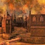 Fiery Industrial Town Ilustration. 3D render illustration of a Fiery Industrial Town Stock Photography