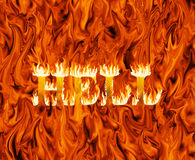 Fiery inferno with word hell emerging from it Royalty Free Stock Photo