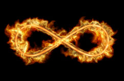 Fiery infinity sign. Emits flames on a black background. 3D rendering Stock Photography