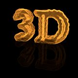 Fiery inscription - 3D. Fiery inscription 3D on a black background Stock Photography