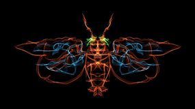 Fiery insect. Illustration of a winged insect using light illustration technique Stock Photo
