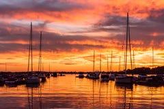 Fiery Lake Norman, North Carolina sunset. A fiery sunset over Lake Norman, North Carollna Royalty Free Stock Image