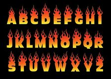 Fiery letters design. Font on fire isolated illustration Royalty Free Stock Image