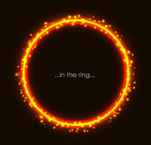 Fiery light round frame with spark. Flaming sparkling glow background. Burning ring orange and yellow golden color. Vibrant circle vector illustration Stock Photos