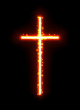 Fiery light sparkling cross with sparks. Vector incandescent glow Christian symbol on black background Stock Images