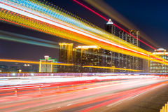 Fiery light trails at night Stock Photography