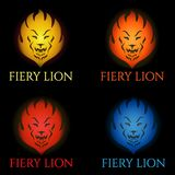 Fiery lion logo set Royalty Free Stock Image