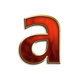 Fiery lowercase a. Lowercase a in fiery red & gold isolated on white series Stock Photo
