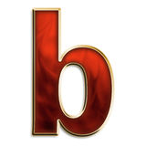 Fiery lowercase b. Lowercase b in fiery red & gold isolated on white series Stock Photos
