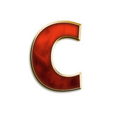Fiery lowercase c. Lowercase c in fiery red & gold isolated on white series Stock Images