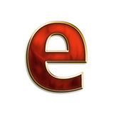 Fiery lowercase e. Lowercase e in fiery red & gold isolated on white series Royalty Free Stock Photo