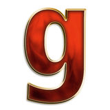 Fiery lowercase g. Lowercase g in fiery red & gold isolated on white series Royalty Free Stock Photography