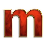 Fiery lowercase m. Lowercase m in fiery red & gold isolated on white series Stock Photography