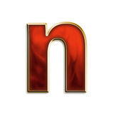 Fiery lowercase n. Lowercase n in fiery red & gold isolated on white series Royalty Free Stock Photography