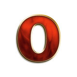 Fiery lowercase o. Lowercase o in fiery red & gold isolated on white series Stock Photo