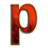 Fiery lowercase p Stock Image