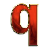 Fiery lowercase q. Lowercase q in fiery red & gold isolated on white series Stock Photography