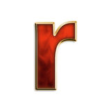 Fiery lowercase r. Lowercase r in fiery red & gold isolated on white series Royalty Free Stock Photos