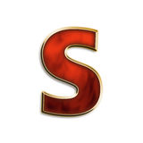 Fiery lowercase s. Lowercase s in fiery red & gold isolated on white series Stock Images