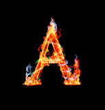 Fiery magic font - A. A- Capital letter made of fire and magic sparkles Stock Photos