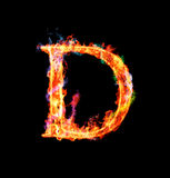 Fiery magic font - D. D- Capital letter made of fire and magic sparkles Stock Photo