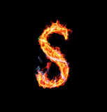 Fiery magic font - S. R- Capital letter made of fire and magic sparkles Royalty Free Stock Photos