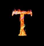 Fiery magic font - T stock photo