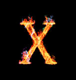 Fiery magic font - X. X- Capital letter made of fire and magic sparkles Stock Images