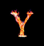 Fiery magic font - Y. Y- Capital letter made of fire and magic sparkles Royalty Free Stock Photos